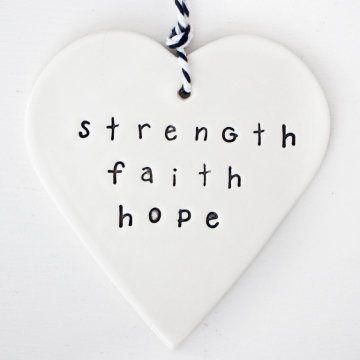 'strength. hope. faith' heart clay gift tag  www.carolinec.com.au