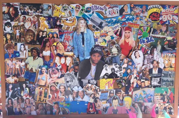 What's a 90's theme party without the full nostalgia. Print all 90's things you can think of online and thumbtack them onto a huge cork board {Staples} for a 90's collage.