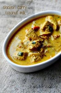 Easy Chicken Curry with Coconut Milk. A mild chicken curry with coconut milk, onions, tomatoes, and spices, perfect as a quick dinner meal idea