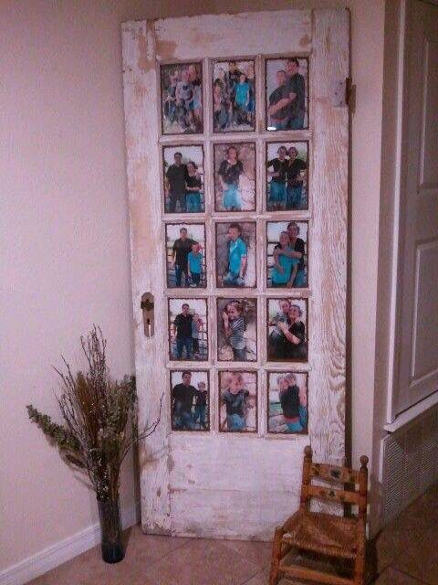 We are looking for a new home. We love this older home we've found! What a great idea for when we update the front door into something more energy efficient! I can use the old door and add photos to it. Using items for decoration is a much better idea than disposing of a beautiful old door!