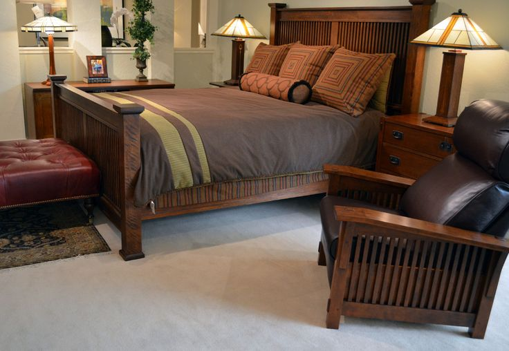 mission style bedroom Bedroom Arts Crafts with artwork bed side table