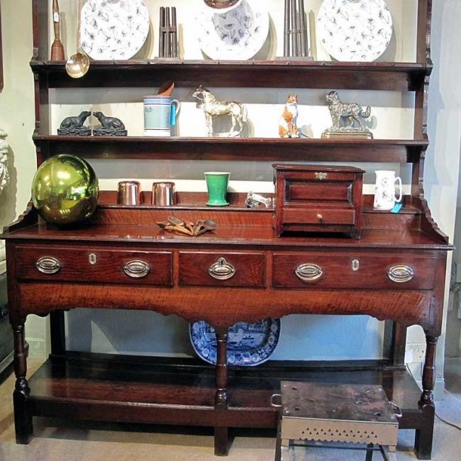 A George III Oak Welsh Dresser With Rack And Great Colour Carmarthenshire Breconshire Borders Circa