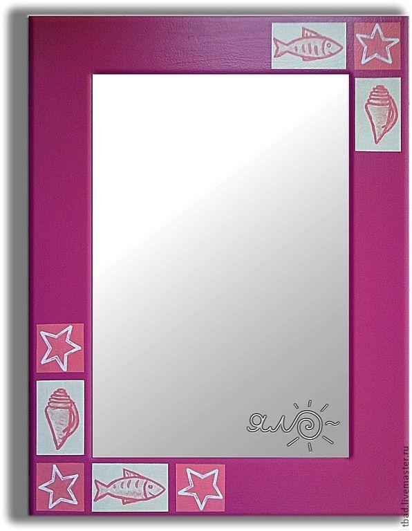 Купить или заказать Зеркало настенное розовое Ракушки в интернет магазине на Ярмарке Мастеров. С доставкой по России и СНГ. Материалы: зеркало, зеркало в деревянной раме,…. Размер: 60 х 80 см. Толщина 1,8 см