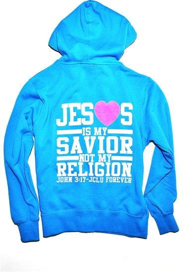 "Jesus Is My Savior Not My Religion Zip Hood inspired by John 3:17 "" For God did not send his Son into the world to condemn the world, but to save the world through him."" It's not about following rules and regs it's about having a meaningful relationship with Jesus. $34.99"
