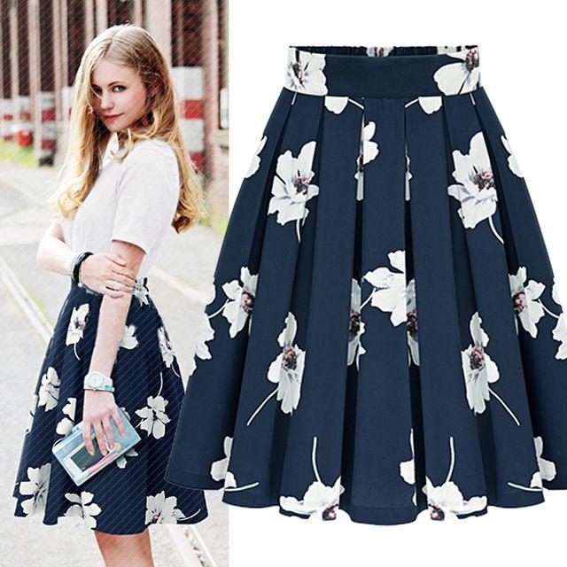 В складку миди юбка высокой талии цветочные юбки женские 2015 лето Stlye синий юбки для полных женщин Saia Feminina лонга 5XL