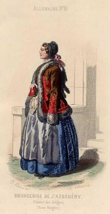 Bourgeoise de J'Azberény. (District des Jazyges) (Basse Hongrie). Altkolorierte original Federlithographie, um 1840.