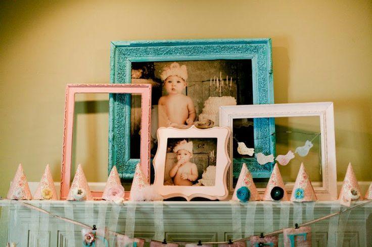 Vintage {Tree + Birdie} 1st Birthday Party     Kara's Party Ideas (love those frames)