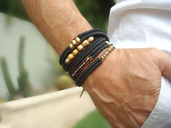 Men's Wrap Bracelet with Solid Brass Beads from by SonseraeDesigns, $175.00
