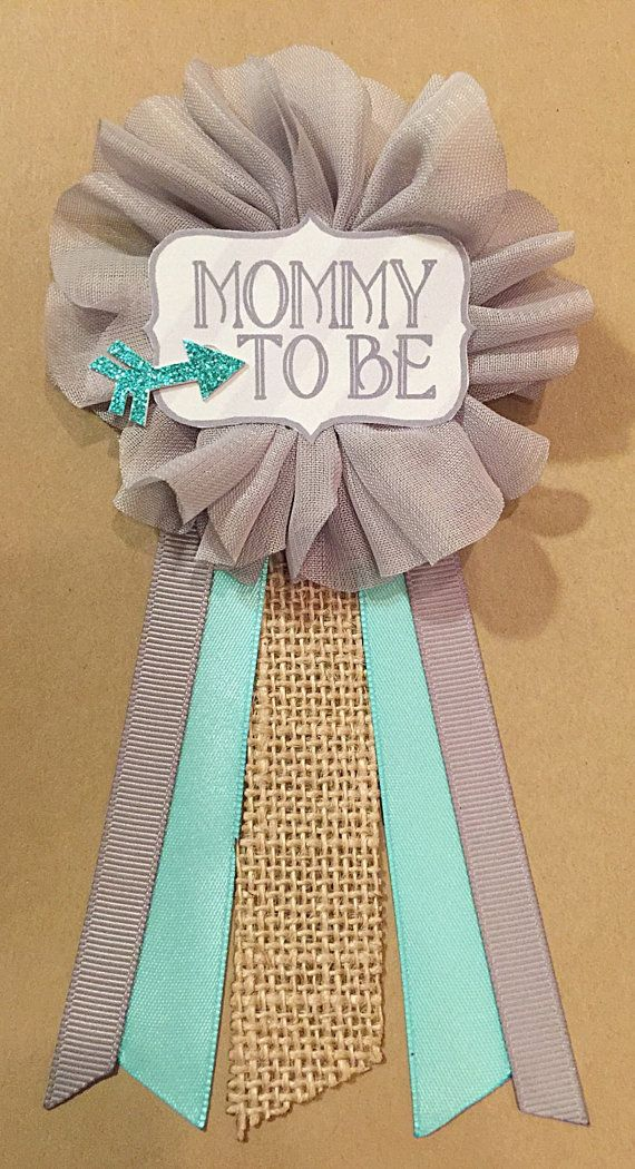 Gray Teal Arrow burlap Baby Boy Shower Mommy-to-be Flower Ribbon Pin Corsage Glitter Mommy Mom New Mom Its a boy