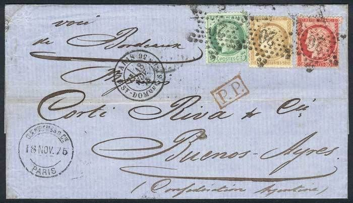 France, 18/NOV/1875 PARIS - ARGENTINA: folded cover franked by Yv.53 + 55 + 57, cancelled by dotted star with numeral 20, with several transit marks and Buenos Aires arrival, VF quality! Starting Price (11/2016): 224 EUR.