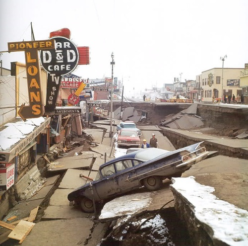 The 1964 Alaska earthquake, also known as the Great Alaskan Earthquake, the Portage Earthquake and the Good Friday Earthquake, was a megathrust earthquake that began at 5:36 P.M. AST on Good Friday, March 27, 1964. Across south-central Alaska, ground fissures, collapsing buildings, and tsunamis resulting from the temblor caused about 131 deaths.