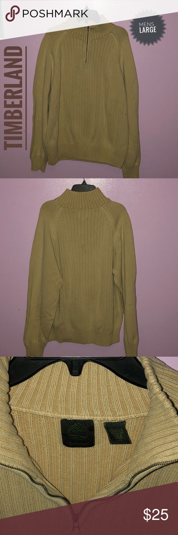 🔊🔊Men's Timberland Tan Sweater‼️‼️ (L) Men's Timberland tan sweater. Gently used no signs of wear and tear. Comes in size large. Great look for a casual outing. Timberland Sweaters Zip Up