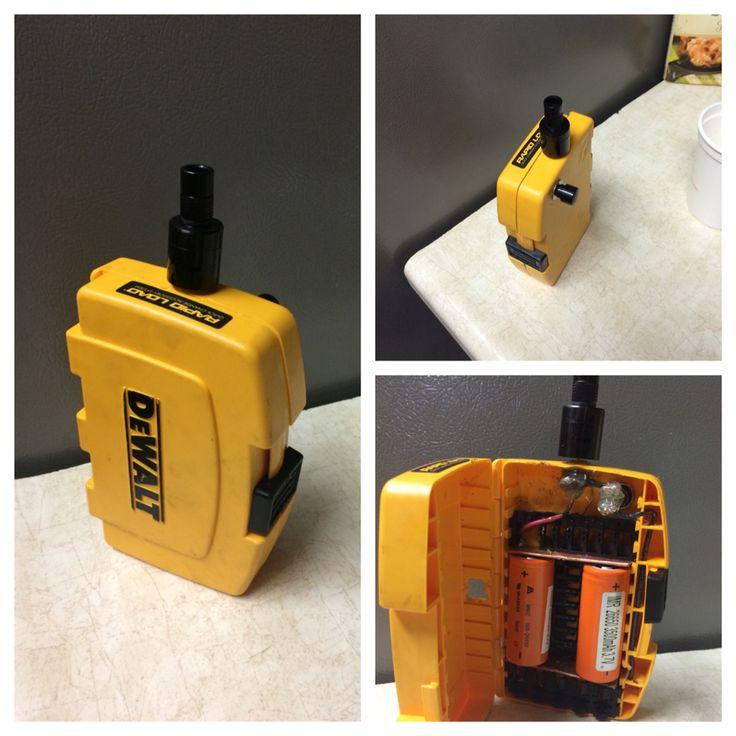 Custom built DeWalt drill bit box mod. Plume Veil rda, 2 26650 MNKE batteries