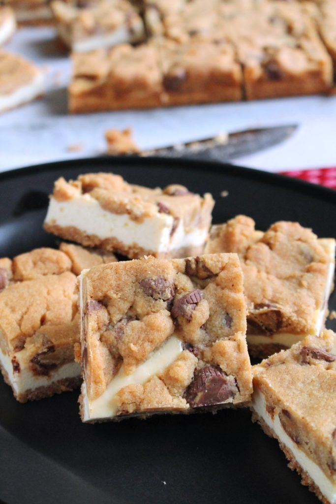 Peanut Butter Cup Cookie Dough Cheesecake Bars