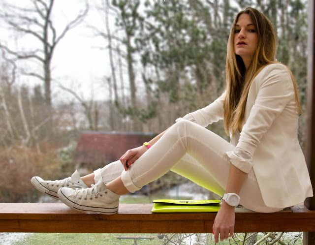 White #Converse #Chucks Chuck Taylor high-tops; #tennis shoes; #trainers; #sneakers