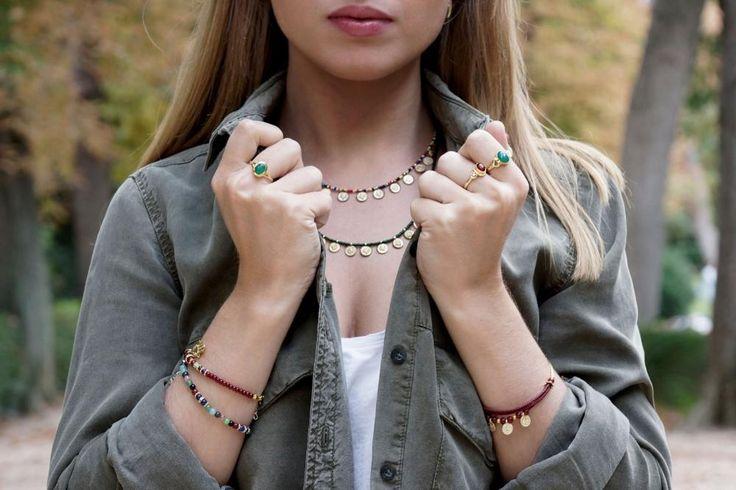Collar Rania monedas, pulseras y anillos boho Diabla Accesorios