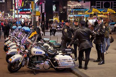 Harley Davidson motorcycle cops, Times Square, New York
