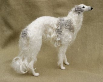 Made to order needle felted dog, Borzoi, custom portrait, pose-able wool sculpture, memorial