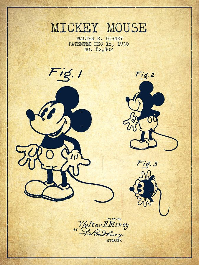 Mickey Mouse Patent Drawing From 1930 - Vintage Drawing