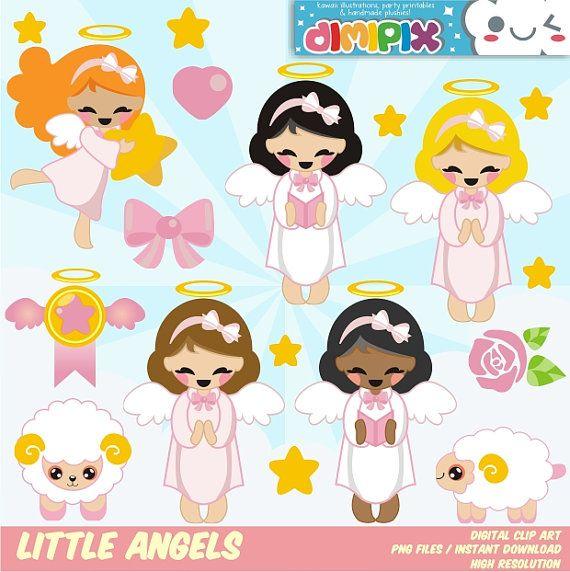 Angeles (niña), Bautizo, Primera Comunión / Clipart Set / Party Kit printable / imagenes digitales descarga instantanea