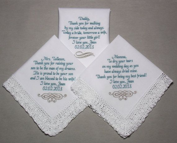 Wedding Gifts For Parents Handkerchief : Wedding Handkerchiefs Embroidered to by sophieli, USD65.90 Wedding ...