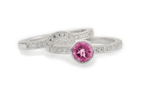 Pink Spinel and Diamond Engagement ring and Wedding Band set by CaiSanni.