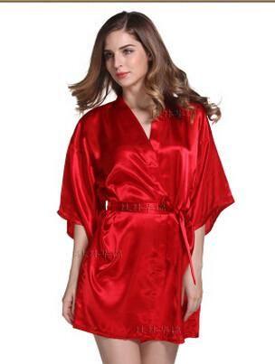 Women Silk Satin Short Night Robe Solid Kimono,  - Avenue Of Angels