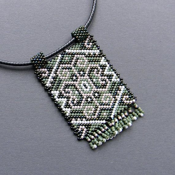 Ethnic  beaded pendant   peyote necklace Native by Anabel27shop,