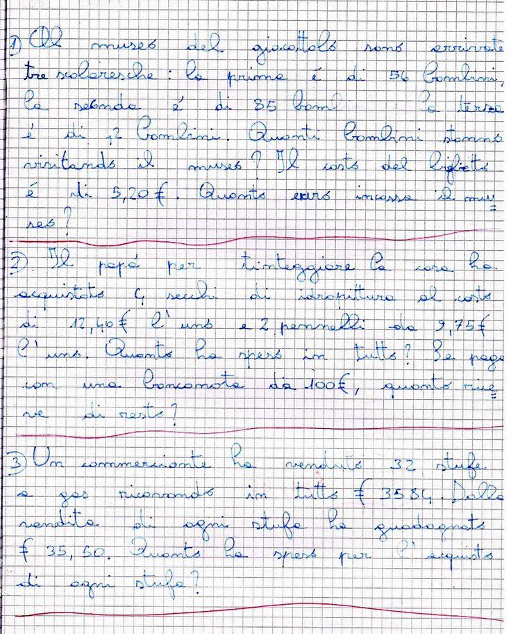 31 maggio 2007     Problemi per la classe quarta       Al museo del giocattolo sono arrivate tre scolaresche: la prima è di 56 bambini, la...