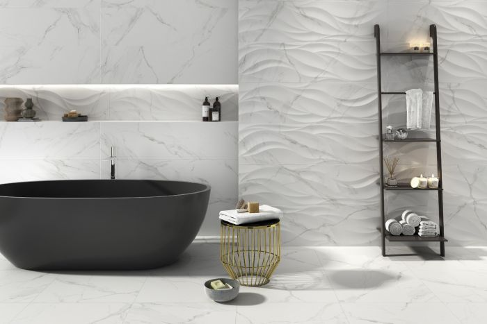 White Marble Effect Matt Wall Tile In 2020 Feature Tiles Bathroom Feature Wall Wall Tiles Design