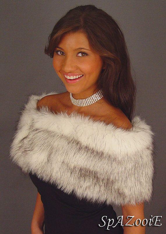 Alaskin Husky Faux Fur Shrug Stole Shawl Black White Silver Gray Bridal Wrap Bridesmaid Coat Cover Up Fw400