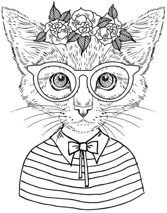 best coloring books for cat lovers cool coloring pagesadult - Cool Colouring Pages