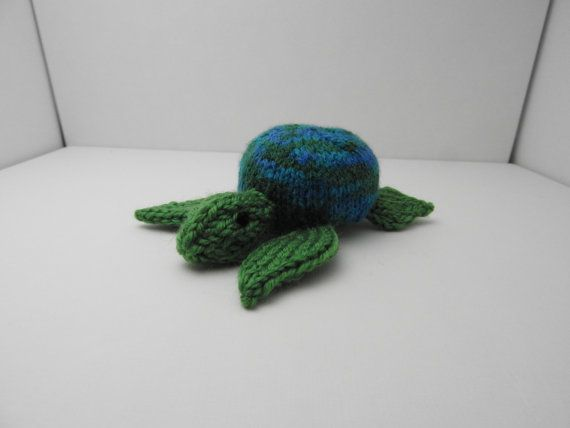 Hand knitted Sea Turtle Pin Cushion Critter, Desk Toy #OOAK