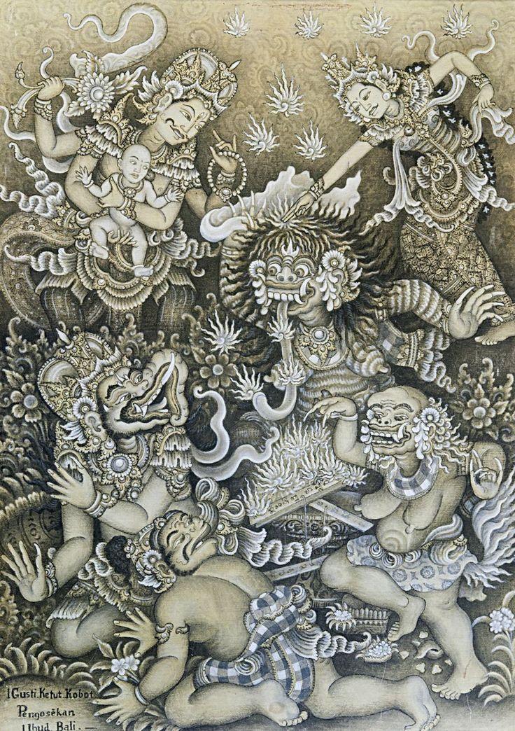 Shiva, Parvati, Rangda and Ganas, Balinese painting
