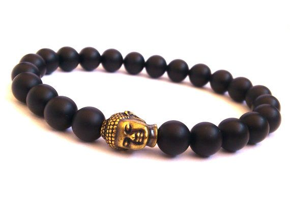 Buddha Head Charm Bracelet/ Men's Bracelet/ Beaded by MACRANI
