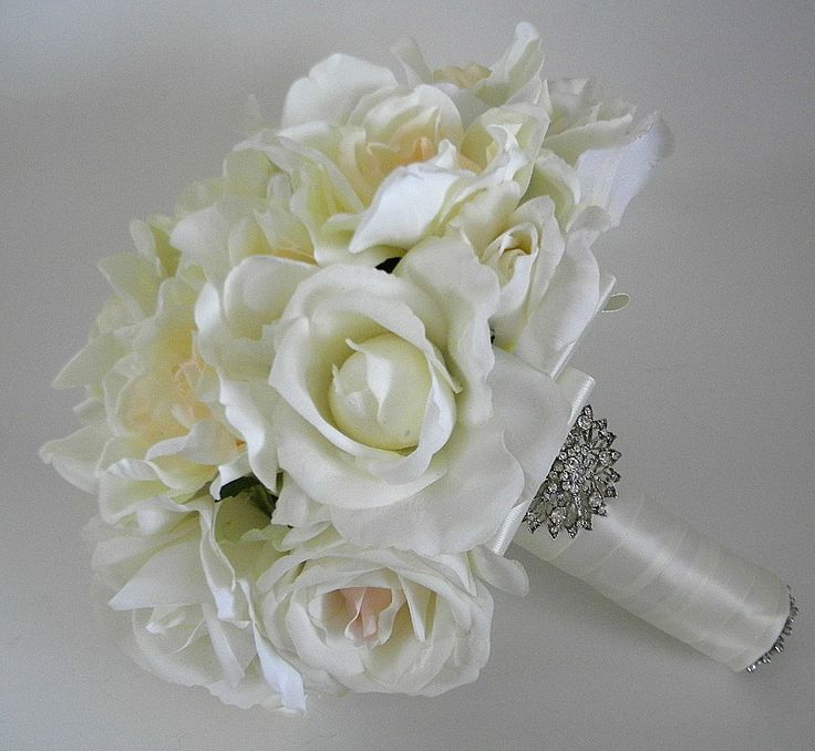 Gardenia and Rose Real Touch Bridal Bouquet in Ivory
