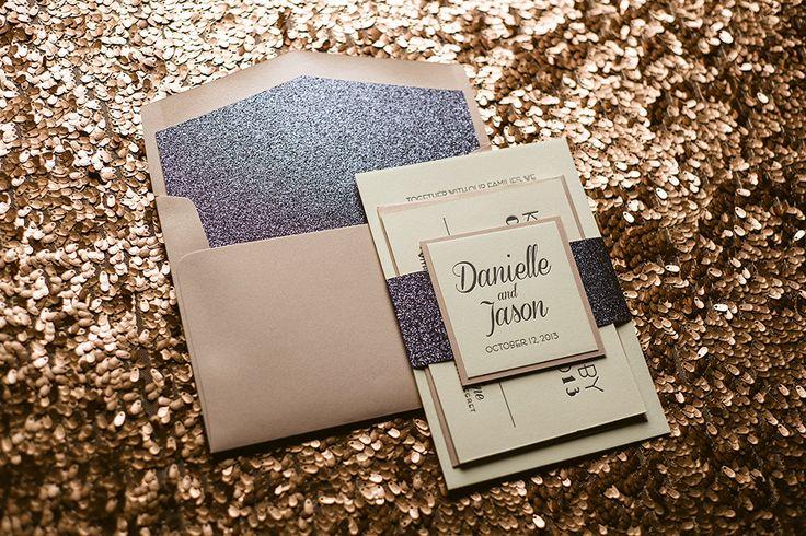 Pink & Grey Wedding Invitation Grey Glitter by FlairNecessities