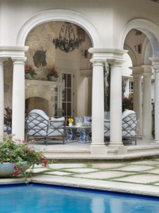 Mediterranean style hexagonal porch - Isler Homes, Dallas