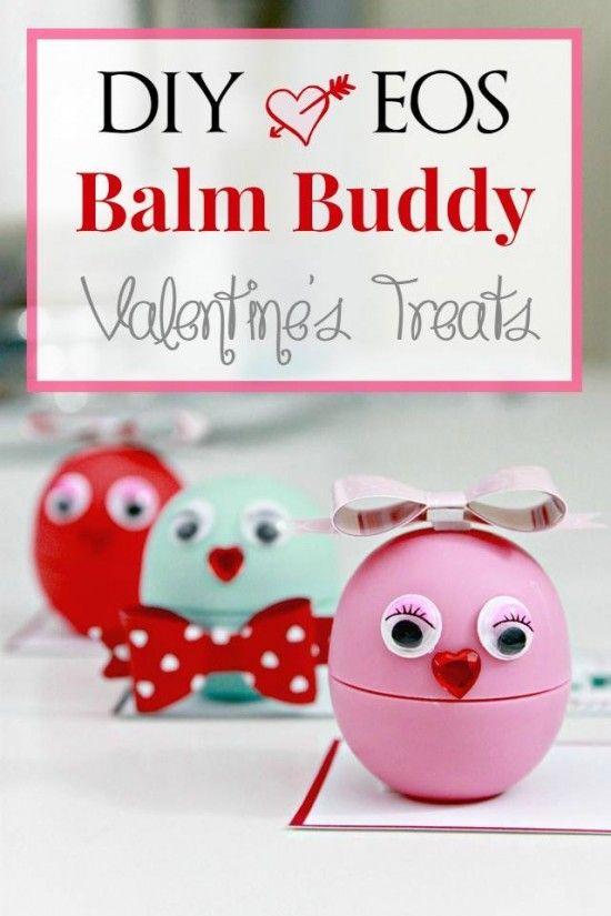 DIY EOS Balm Buddies Valentine Treats with Free Printable Tags