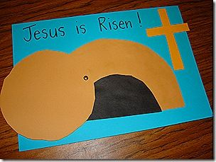 Make a picture showing Jesus' empty tomb! Draw two half circles (one small and one large) for the tomb. Draw a circle for the stone that was rolled away. Let your little one cut out the pieces. Glue to tomb onto construction paper and attach the stone with a brad.