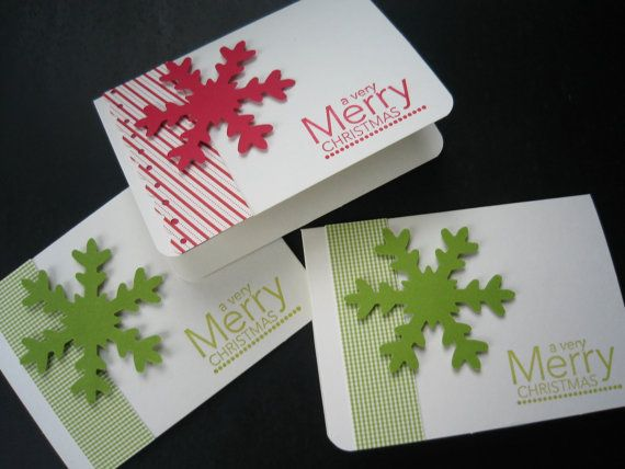 Christmas Card Set Set of 3 Snowflake by apaperaffaire on Etsy