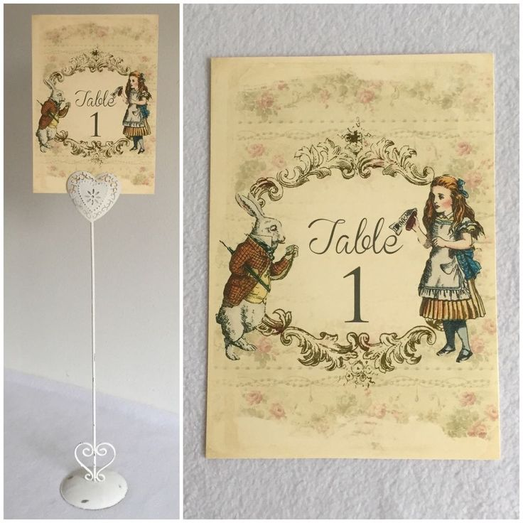 Alice In Wonderland Wedding Table Number Card Name Shabby Chic White Rabbit in Home, Furniture & DIY, Wedding Supplies, Centerpieces & Table Decor | eBay