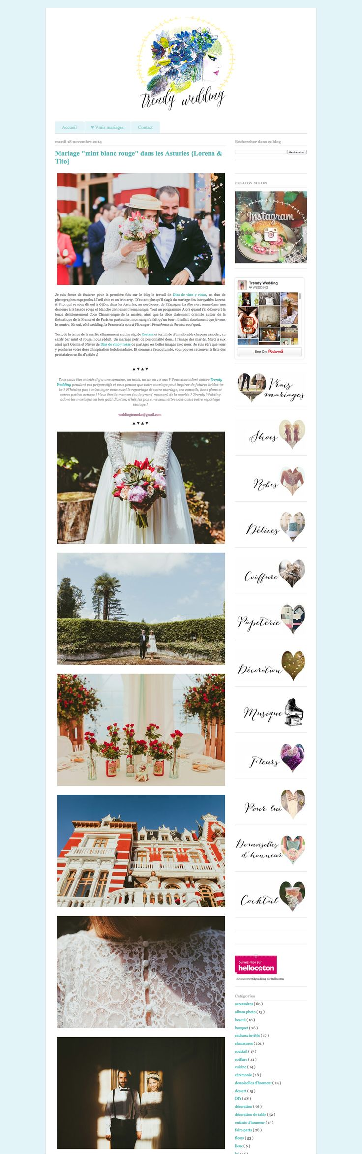 Featured in 'Trendy Weddings, le blog':  http://www.trendyweddingleblog.com/2014/11/mariage-chic-retro-asturies.html