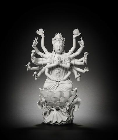 A blanc-de-Chine figure of Doumu, Impressed Boji Yuren seal mark, late Qing Dynasty
