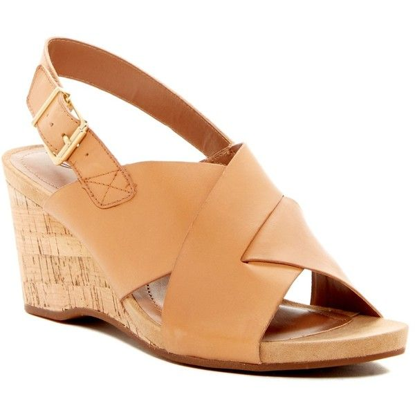 Easy Spirit Lacene Wedge Sandal ($50) ❤ liked on Polyvore featuring shoes, sandals, natural le, slingback sandals, leather sandals, open toe wedge sandals, wedge heel sandals and wedges shoes