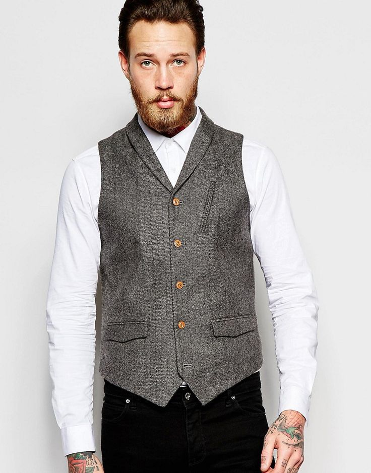 Image 1 of ASOS Vest In Tweed With Shawl Collar in Brown
