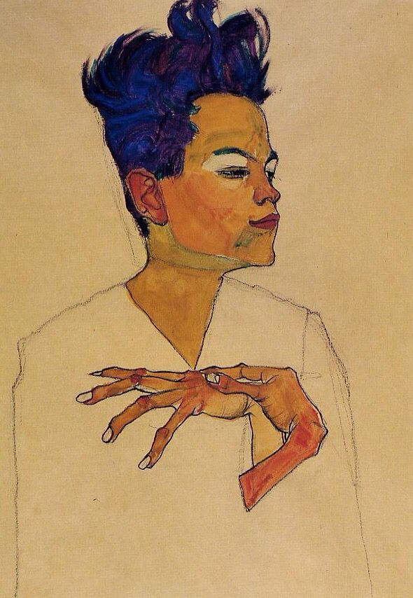 Self Portrait with Hands on Chest, by Egon Schiele, 1910. Charcoal, watercolour, and opaque white on paper   Private collection