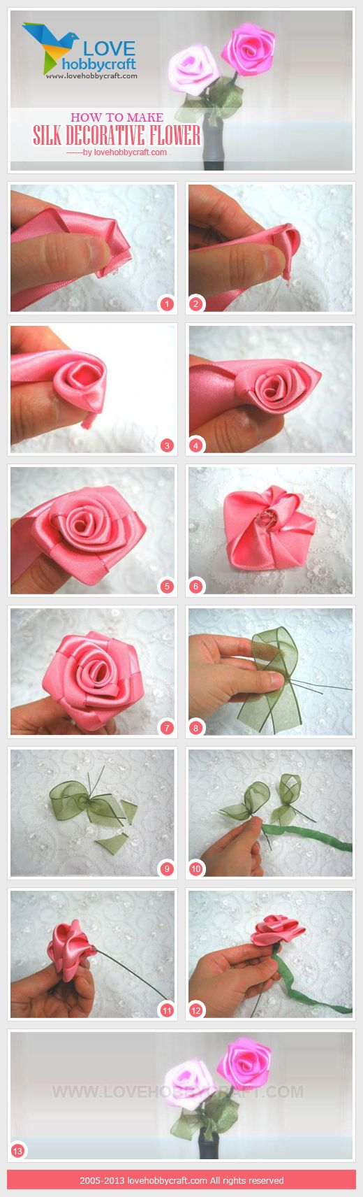 25 best ribbon rose images on pinterest fabric flowers ribbon how to make silk decorative flower mightylinksfo