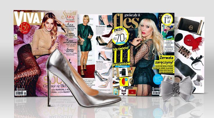 W dwutygodniku VIVA styliści zaprezentowali eleganckie srebrne czółenka (https://wojas.pl/produkt/23203/czolenka-6351-59 ) , a w magazynie FLESZ ozdobą kokardę do butów marki Wojas z kryształkami Swarovski Elements.