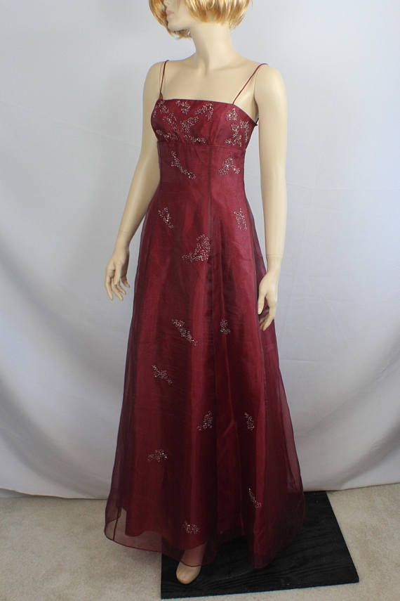 90s prom dress, formal red burgundy dress,